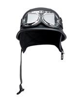 Old Style Army Motorcycle Helmet And Goggles, Isolated On White Background. File Contains A Path To Isolation