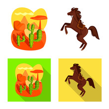 Isolated Object Of Texas And History Logo. Set Of Texas And Culture Vector Icon For Stock.
