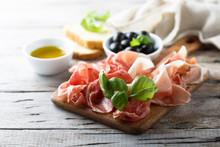 Charcuterie Board With Fresh Basil