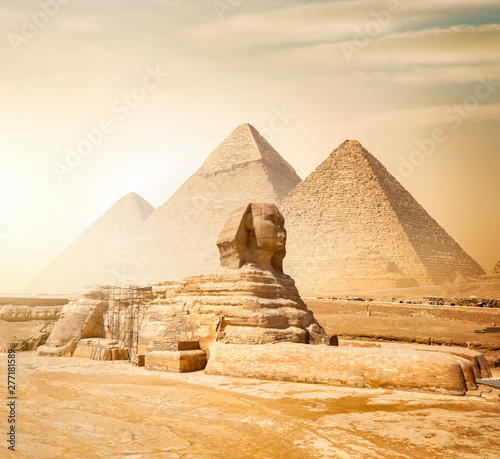 Fotografie, Tablou Sphinx and pyramids