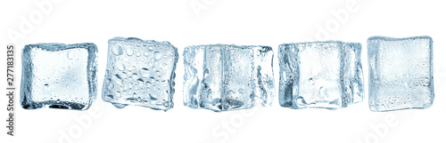 Fotografie, Obraz Cold ice cubes on white space