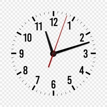 Clock Mockup. Hour, Minute And Second Hands With A Time Scale For Modern Wall Office Watches. 3d Vector Isolated Template