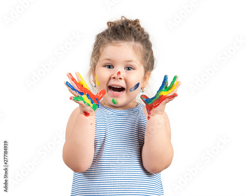 Naklejki do przedszkola smiling-little-girl-with-hands-in-the-paint-on-white-background