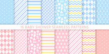 Baby Boy Girl Pattern. Baby Shower Seamless Background. Vector Blue Pink Childish Textile Print. Set Cute Pastel Texture For Invitation, Invite Template, Card, Birth Party Scrapbook. Flat Illustration