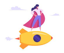 Female Superhero In Red Cloak, Super Employee Girl With Arms Akimbo Flying On Golden Rocket Among Clouds In Sky, Business Success, Leadership, Professionalism Concept Cartoon Flat Vector Illustration