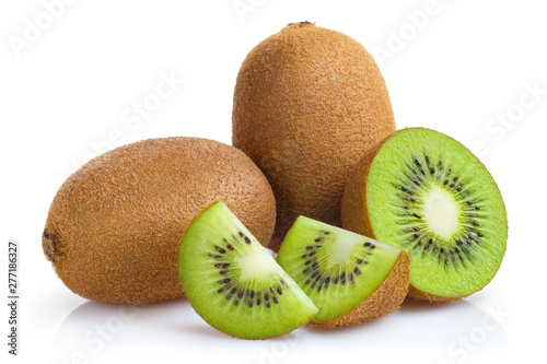 Fototapeta Delicious ripe kiwi fruits, isolated on white background