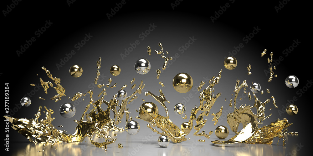 Fototapeta abstract black background with lots of golden and silver pearls and splashes