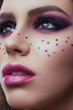 Portrait Of Female Model With Creative Makeup. Close-up image of great beauty art make-up. Beauty. Beautiful Woman Face With soft color Lipstick. Sexy Full Lips. Cosmetics and Skincare concept