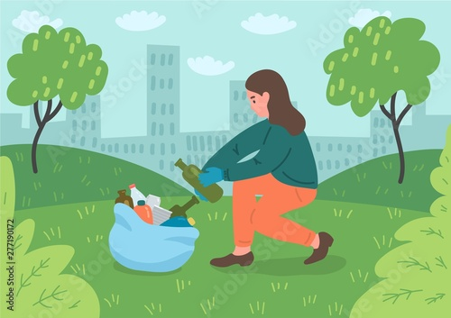 Canvas Print Young female volunteer cleaning city park.