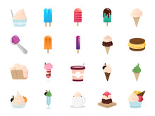 Ice Cream Icon Set. Included Icons As Sweet, Cool, Frozen, Soft Cream, Flavor, Dairy And More.