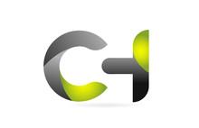 Green Black Alphabet Letter CH C H Combination Logo Icon Design