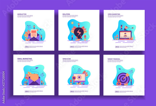 Photo  Set of modern flat design templates for Business, newsletter, solution, video marketing, email marketing, virus scan, target financial