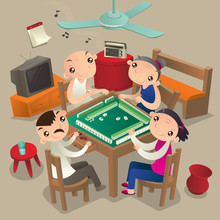 Hong Kong People Playing Mahjong Game
