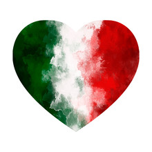 Love Italy. Watercolor Heart With Italian Flag Colors