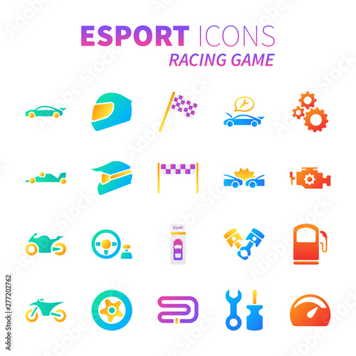 Wall Murals F1 Brilliant colorful gradient icon set of racing video game and esport concept.