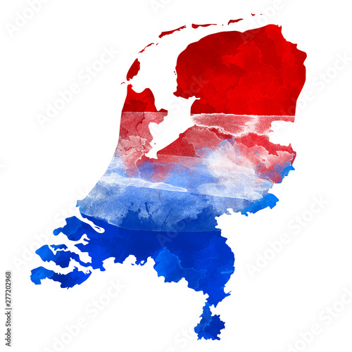 Abstract watercolor map of Netherlands with flag colors Canvas Print