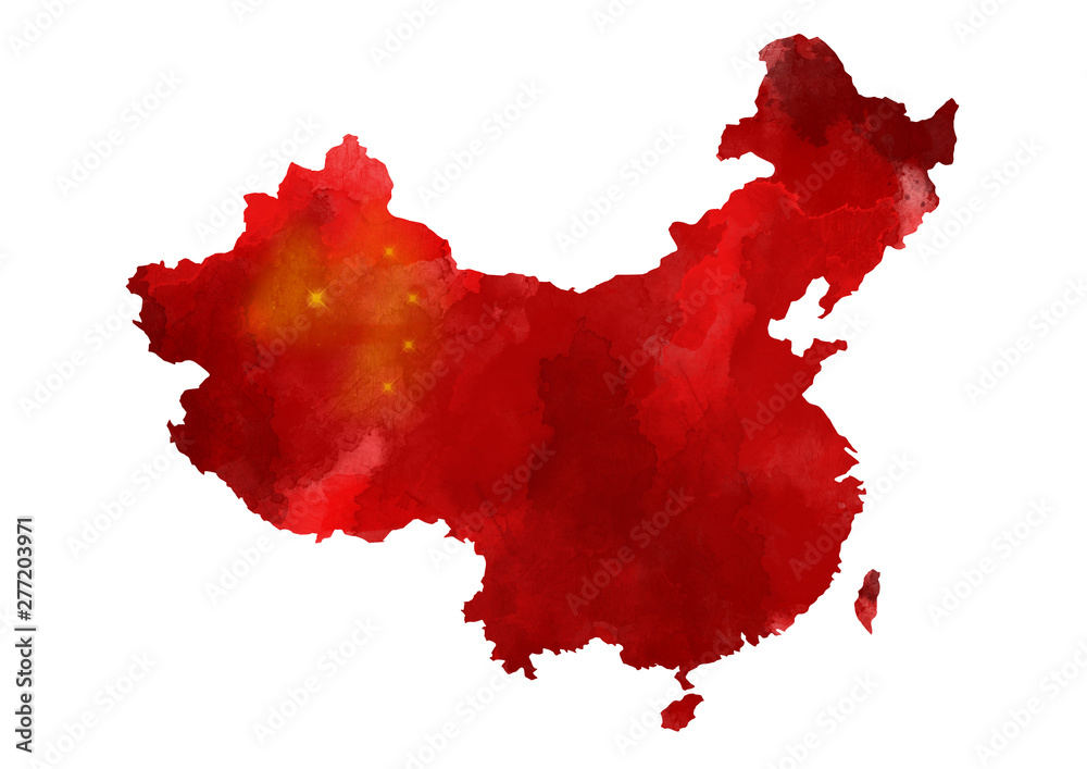 Fototapety, obrazy: Abstract watercolor map of China