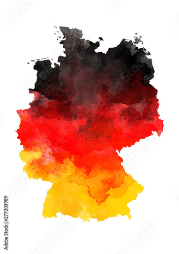 Abstract watercolor map of Germany Canvas Print