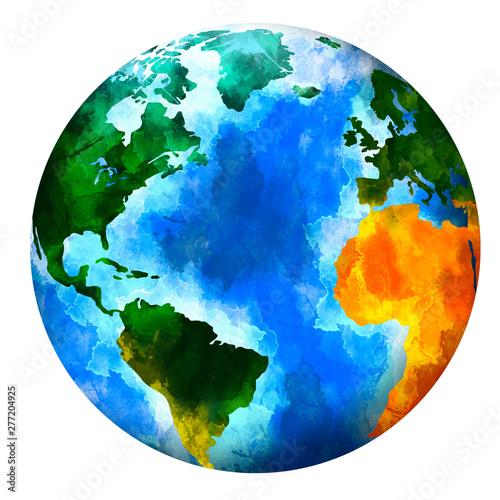 Watercolor planet Earth Canvas Print