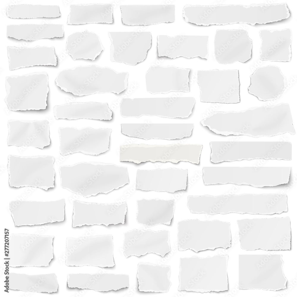 Fototapeta Set of paper different shapes fragments isolated on white background