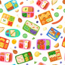 Lunch Boxes With Food Seamless Pattern Vector Illustration. Plastic Containers With Meal For School, Work, University. Eggs With Sausages, Cherry Tomatoes, Cookies, Boiled Potato, Noodles.