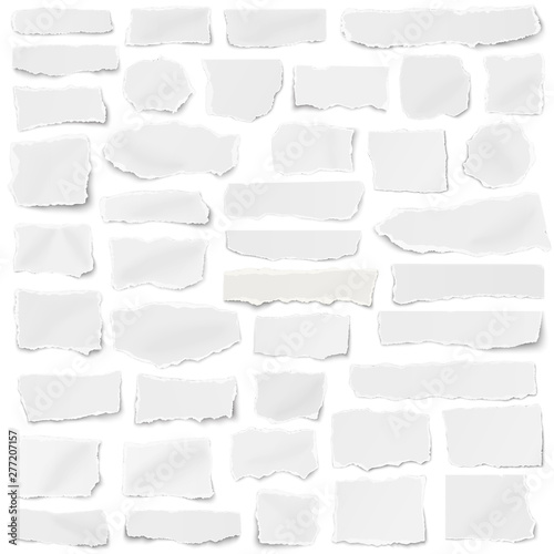 Fototapeta Set of paper different shapes fragments isolated on white background obraz