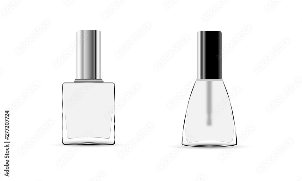 Fototapety, obrazy: Collection glossy nail polish bottle with cap. Realistic packaging mockup template. Colorless nail polish isolated on white background. Front view. Vector illustration.