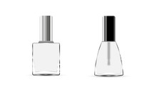 Collection Glossy Nail Polish Bottle With Cap. Realistic Packaging Mockup Template. Colorless Nail Polish Isolated On White Background. Front View. Vector Illustration.