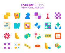 Brilliant Colorful Gradient Icon Set Of Casino, Puzzle And Board Game. Esport Concept.