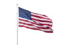 United States Flag On A Pole Waving Isolated On White Background.