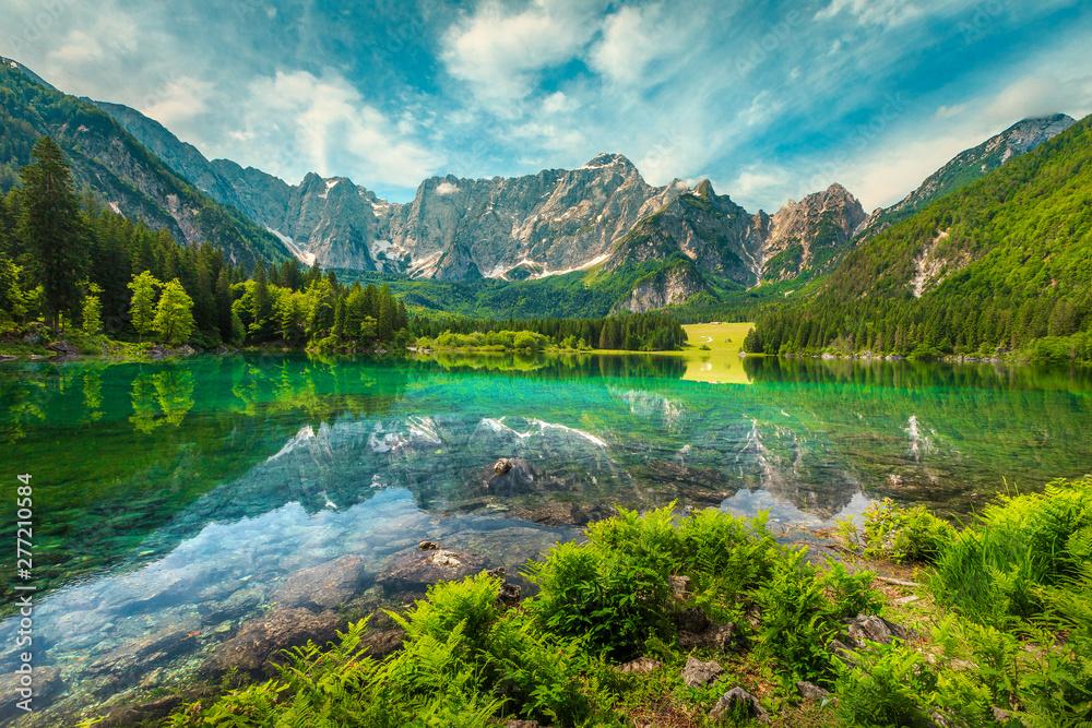 Fototapety, obrazy: Alpine landscape with lake Fusine and Mount Mangart, Italy