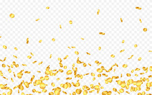 Falling From The Top A Lot Of Gold Coins On Transparent Background. Vector Illustration