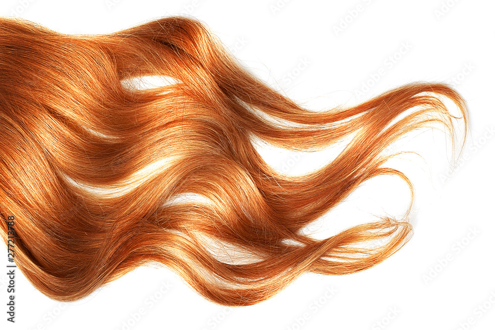 Fototapety, obrazy: Red wavy hair isolated on white background