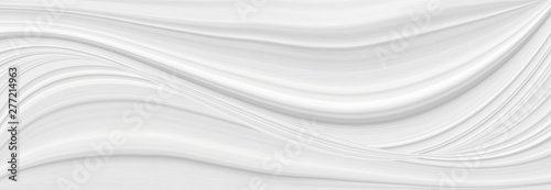 White background 3 d with elements of waves in a fantastic abstract design, the texture of the lines in a modern style for wallpaper. Light gray template for wedding ceremony or business presentation. - 277214963
