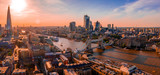 Fototapeta Fototapety Paryż - Arial view of London with the River Thames floating through the city near the Tower Bridge, London City and Westminster Abbey.