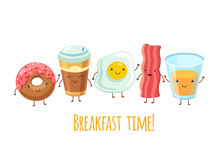 Happy Breakfast Characters. Egg Sandwich Coffee. Breakfast Meal Fried Bacon. Cartoon Funny Food Friends Vector Set. Breakfast Food, Bacon And Coffee, Fresh Coffee Illustration