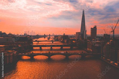 Ingelijste posters Centraal Europa Aerial view of London Shard skyscraper near the Tower Bridge.