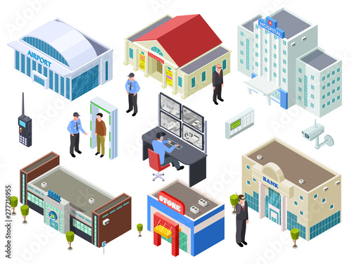 Obraz Security system for various public buildings isometric vector collection. Illustration of building isometric, bank and mall, outdoor control - fototapety do salonu