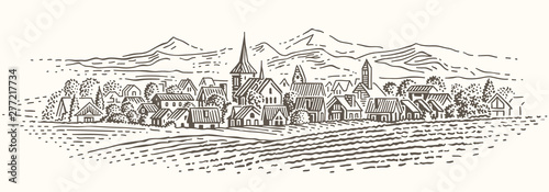 European village landscape illustration. Isolated, vector.