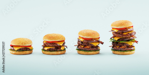Hamburger. Fast food diet concept, Compulsive overeating and dieting. 3d rendering © Aldeca Productions