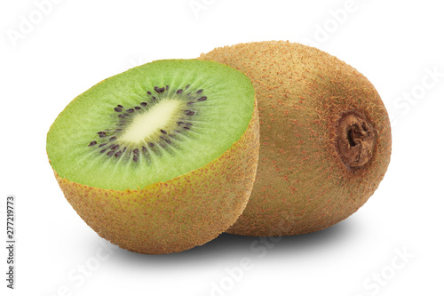 Fotografie, Obraz  Ripe whole kiwi fruit and half isolated on white background with clipping path