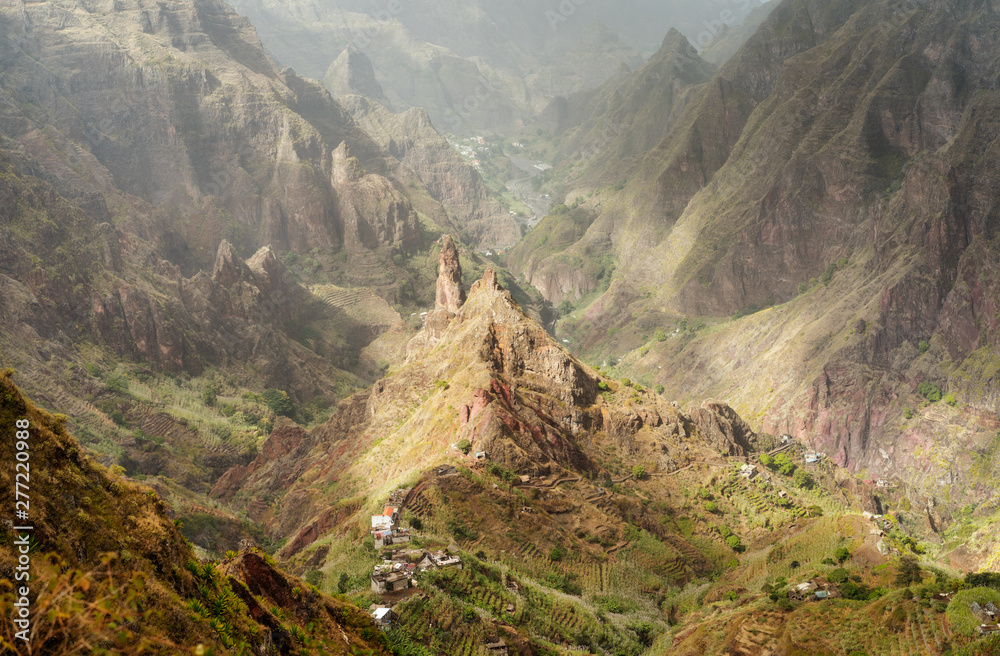 Fototapety, obrazy: Santo Antao, Cape Verde. Mountain peak in arid Xo-Xo valley. Scenic impressive landscapes of mountain range