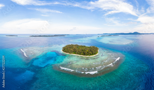 Aerial view Banyak Islands Sumatra tropical archipelago Indonesia, coral reef beach turquoise water. Travel destination, diving snorkeling, uncontaminated environment ecosystem