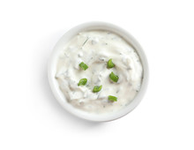 Delicious Sauce In Bowl On White Background, Top View