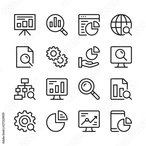 Data analysis line icons set. Modern linear graphic design concepts, simple outline elements collection. Vector line icons