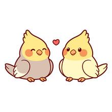 Cute Cartoon Cockatiel Couple
