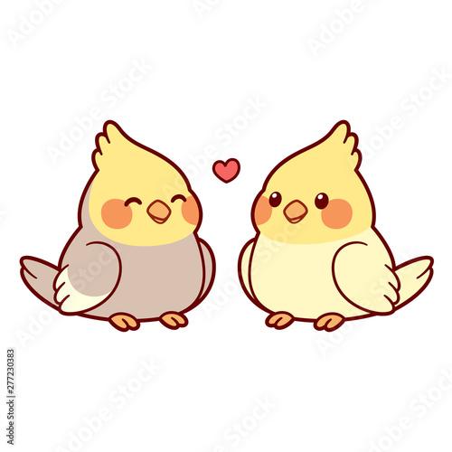 Cute cartoon cockatiel couple Fototapet
