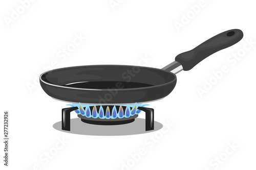 Fotografía Frying pan on gas stove isolated on white background