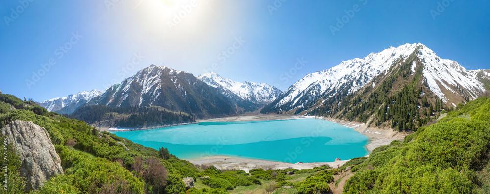 Fototapety, obrazy: Panorama of Big Almaty Lake on Sunny summer day, Kazakhstan