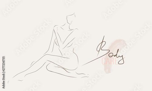 Vászonkép Slender body of young woman